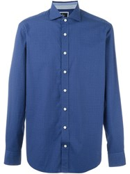 Hackett Diamond Print Shirt Blue