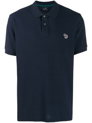 Paul Smith Ps Zebra Patch Polo Shirt Blue