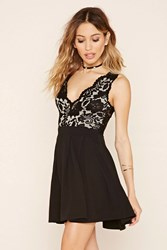 Forever 21 Floral Lace Combo Dress Black Taupe
