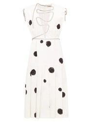Christopher Kane Polka Dot Squiggle Cupchain Crepe Midi Dress White Black