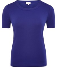 Cc Embroidered Crew Neck T Shirt Cobalt