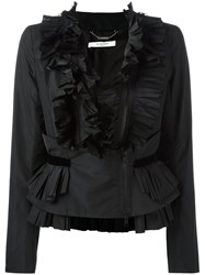 Givenchy Frill Zip Up Blouse Black