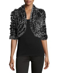 Metric Knits Rabbit Fur Short Sleeve Shrug Blk Snow