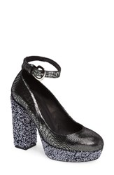 Shellys Women's London Thrift Platform Pump Pewter Fabric Suede