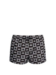 Dolce And Gabbana Check And Crown Print Mid Length Swim Shorts Black