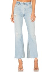 Re Done The Leandra High Rise Crop Flare Destructed Blue