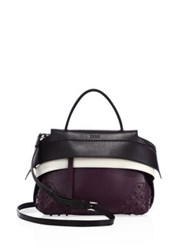 Tod's Wave Micro Leather Satchel Black Purple