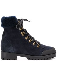 Mr And Mrs Italy Trimmed Hiker Boots Blue