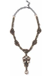Valentino Silver Tone Satin And Crystal Necklace Anthracite