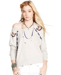 Denim And Supply Ralph Lauren Fringed French Terry Sweatshirt Granite Heather
