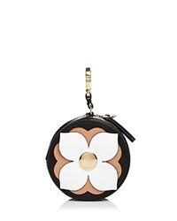 Etienne Aigner Round Leather Coin Case Black White Brown Gold
