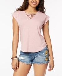 Almost Famous Crave Fame By Juniors' Strappy Front T Shirt Dusty Pink