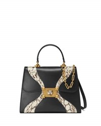 Gucci Linea Medium Leather And Snakeskin Top Handle Bag Black Pattern