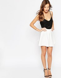Oh My Love Scuba Pleated Skater Skirt Cream