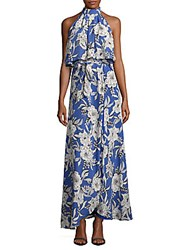 Lovers Friends Floral Print Sleeveless Popover Dress Blue