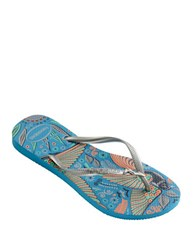 Havaianas Slim Royal Rubber Thong Sandals Turquoise