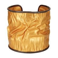 Carousel Jewels Adjustable Crumpled Gold Cuff With Silver Border