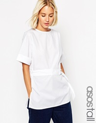 Asos Tall Clean Belted T Shirt In Cotton White