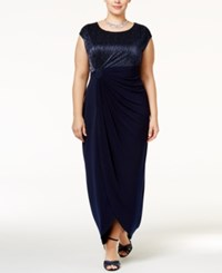 Connected Plus Size Crinkled Metallic Faux Wrap Gown Navy