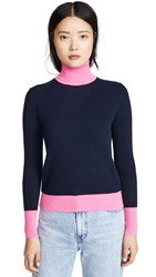 Bop Basics Combo Cashmere Turtleneck Navy Hot Pink