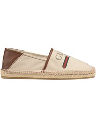Gucci Logo Canvas Espadrille Nude And Neutrals