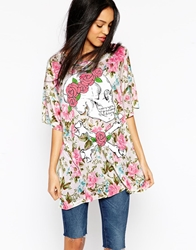 Wildfox Couture Wildfox Dead Head Floral Skull T Shirt Dress Pearljam