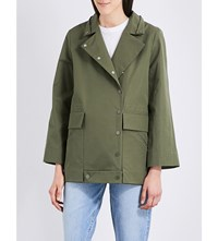 Sandro Embroidered Detail Cotton Coat Olive Green