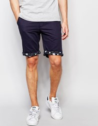 Bellfield Chino Shorts With Contrast Wave Print Turn Up Navy Blue