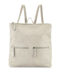 Neiman Marcus Made In Italy Slouchy Leather Backpack Light Gray