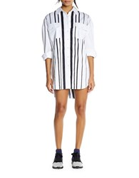 Kendall Kylie Striped Cotton Shirt Dress White Black
