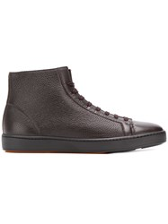 Santoni Lace Up Hi Top Sneakers Brown
