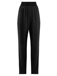 Balenciaga Wide Leg Satin Twill Trousers Black
