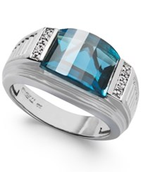 Macy's Men's London Blue Topaz 6 1 2 Ct. Tw. And Diamond Accent Ring In Sterling Silver