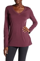 Allen Allen V Neck Long Sleeve Tee Purple