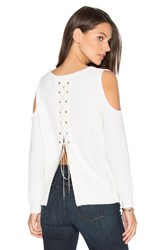 One Grey Day Sylvie Cold Shoulder Sweater White