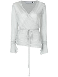 Kacey Devlin Metallic Wrap Blouse