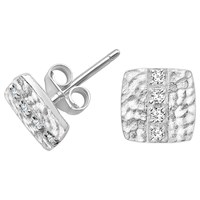Dower And Hall Lumiere Sterling Silver Square Sapphire Stud Earrings Silver White