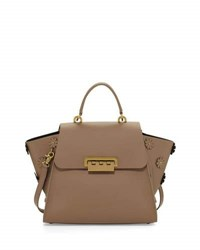 Zac Posen Eartha Iconic Leather Satchel W Floral Tan