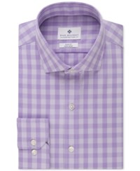 Ryan Seacrest Distinction Men's Slim Fit Non Iron Purple Tonal Gingham Dress Shirt