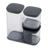 Joseph Joseph Podium Storage Jar Set With Stand Grey Clear