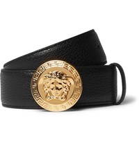 Versace 3.5Cm Black Full Grain Leather Belt Black