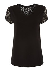 Pied A Terre Lace Back Jersey Top Black
