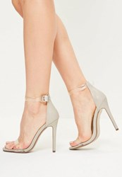 Missguided Grey Clear Rounded Strap Barely There Heels