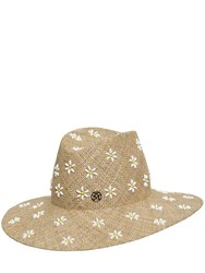 Maison Michel Kate Daisy Embroidered Straw Hat Natural
