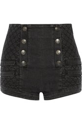 Balmain Pierre Button Detailed Quilted Stretch Denim Shorts Charcoal