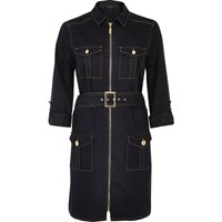 River Island Womens Dark Wash Denim Military Shirt Dress