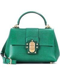 Dolce And Gabbana Lucia Small Embossed Leather Shoulder Bag Green