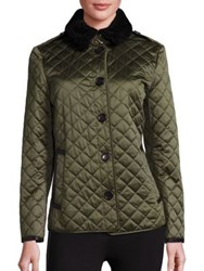 Burberry Ashurt Fur Trimmed Quilted Jacket Bright Moss