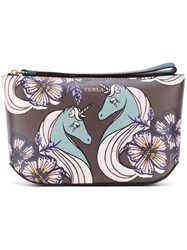 Furla Printed Make Up Bag Women Leather One Size Pink Purple
