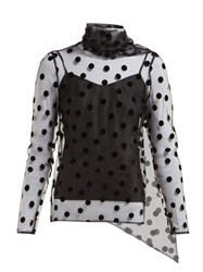 Erdem Yovanna Tie Neck Polka Dot Tulle Top Black
